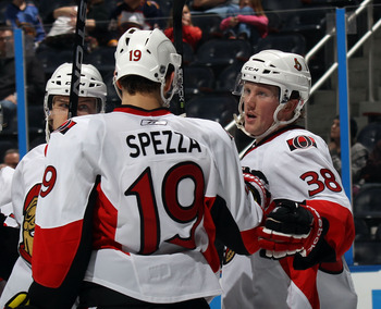 ATLANTA, GA - MARCH 27: Erik Condra #38 of the Ottawa Senators scores a third period goal against the Atlanta Thrashers on an assist from Jason Spezza #19 of the Ottawa Senators at the Philips Arena on March 27, 2011 in Atlanta, Georgia. The Thrashers def