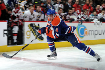 RALEIGH, NC - JANUARY 29: Taylor Hall #4 of the Edmonton Oilers competes for fastest skater during the Honda NHL SuperSkills competition part of 2011 NHL All-Star Weekend at the RBC Center on January 29, 2011 in Raleigh, North Carolina.  (Photo by Harry H