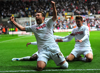 SWANSEA, WALES - MAY 16:  Swansea player Stephen Dobbie (l) celebrates after scoring the second goal during the npower Championship Play Off Semi Final Second Leg between Swansea City and Nottingham Forest at Liberty Stadium on May 16, 2011 in Swansea, Wa