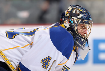 GLENDALE, AZ - MARCH 22:  Goaltender Jaroslav Halak #41 of the St. Louis Blues during the NHL game against the Phoenix Coyotes at Jobing.com Arena on March 22, 2011 in Glendale, Arizona. The Coyotes defeated the Blues 2-1.  (Photo by Christian Petersen/Ge