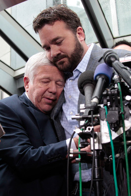 WASHINGTON, DC - JULY 25:  New England Patriots owner Robert Kraft (L) is embraced by Indianapolis Colts center Jeff Saturday during a news conference  on July 25, 2011 in Washington, DC. The NFL players and owners are set to agree on a labor deal and end