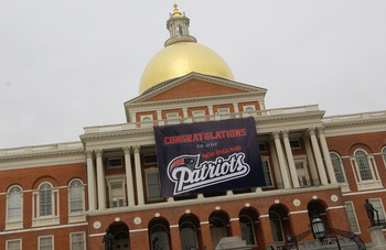 BOSTON - FEBRUARY 8:  A banner hangs from the State House during the New England Patriot's' Victory Parade February 8, 2005 in Boston, Massachusetts. The Patriots defeated the Philadelphia Eagles 24-21 in Super Bowl XXXIX on February 6.  (Photo by Jodi Hi