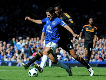 LIVERPOOL, ENGLAND - MAY 22:  Mikel Arteta of Everton tussles for posession with John Obi Mikel of Chelsea during the Barclays Premier League match between Everton and Chelsea at Goodison Park on May 22, 2011 in Liverpool, England.  (Photo by Chris Brunsk