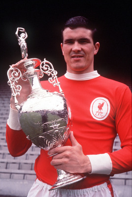 1966:  Ron Yeats of Liverpool holds up the 1965/66 League Championship Trophy. Mandatory Credit: Allsport UK/ALLSPORT
