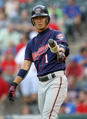 ARLINGTON, TX - JULY 28:  Tsuyoshi Nishioka #1 of the Minnesota Twins at Rangers Ballpark in Arlington on July 28, 2011 in Arlington, Texas.  (Photo by Ronald Martinez/Getty Images)