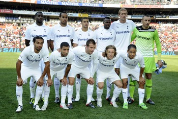 JOHANNESBURG, SOUTH AFRICA - JULY 23:  Tottenham team poses during the 2011 Vodacom Challenge final match between Orlando Pirates and Tottenham Hotspur at Coca Cola Stadium on July 23, 2011 in Johannesburg, South Africa.  (Photo by Frennie  Shivambu/Gallo