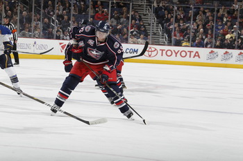 COLUMBUS, OH - MARCH 09:  Jakub Voracek #93 of the Columbus Blue Jackets skates against the St. Louis Blues on March 9, 2011 at Nationwide Arena in Columbus, Ohio.  (Photo by Gregory Shamus/Getty Images)