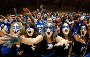 DURHAM, NC - FEBRUARY 11:  The Cameron Crazies taunt the North Carolina Tar Heels before they face the Duke Blue Devils on February 11, 2009 at Cameron Indoor Stadium in Durham, North Carolina.  (Photo by Kevin Cox/Getty Images)