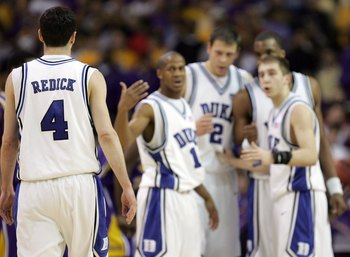 ATLANTA - MARCH 23:  J.J. Redick #4 of the Duke Blue Devils is called to huddle with teammates during third round game of the 2006 NCAA Division I Men's Basketball Tournament Regional against the LSU Tigers at the Georgia Dome on March 23, 2006 in Atlanta