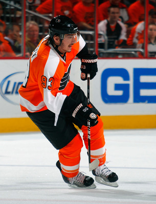 PHILADELPHIA, PA - MAY 02:  Nikolay Zherdev #93 of the Philadelphia Flyers skates in Game Two of the Eastern Conference Semifinals against the Boston Bruins during the 2011 NHL Stanley Cup Playoffs at Wells Fargo Center on May 2, 2011 in Philadelphia, Pen