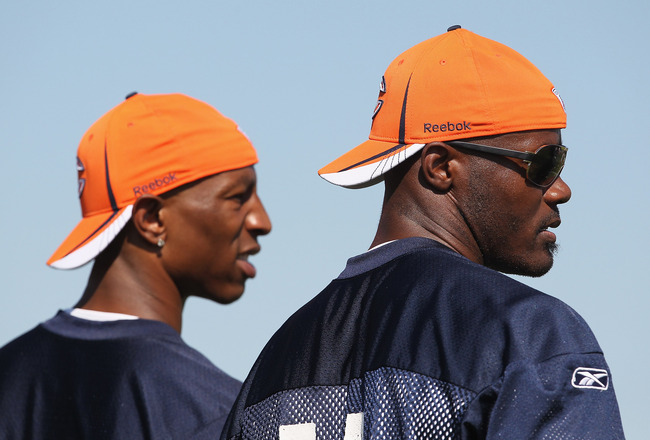BOURBONNAIS, IL - JULY 30: Free-agent signees of the Chicago Bears Sam Hurd #81 (L) and Roy Williams #11 watch during a summer training camp practice at Olivet Nazarene University on July 30, 2011 in Bourbonnais, Illinois. (Photo by Jonathan Daniel/Getty