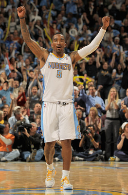 DENVER, CO - APRIL 25:  J.R. Smith #5 of the Denver Nuggets reacts after scoring against the Oklahoma City Thunder in Game Four of the Western Conference Quarterfinals in the 2011 NBA Playoffs on April 24, 2011 at the Pepsi Center in Denver, Colorado. NOT