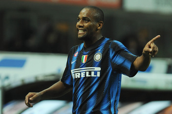 MILAN, ITALY - SEPTEMBER 22:  Douglas Maicon of FC Internazionale Milano reacts during the Serie A match between FC Internazionale Milano and AS Bari at Stadio Giuseppe Meazza on September 22, 2010 in Milan, Italy.  (Photo by Valerio Pennicino/Getty Image