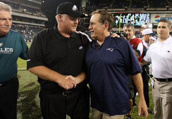 PHILADELPHIA - AUGUST 13:  Head coach Andy Reid of the Philadelphia Eagles shakes hands with head coach Bill Belichick of the New England Patriots after their game on August 13, 2009 at Lincoln Financial Field in Philadelphia, Pennsylvania.  (Photo by Jim
