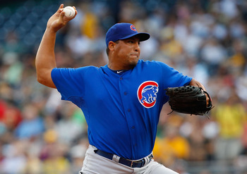 PITTSBURGH - AUGUST 01:  Carlos Zambrano #38 of the Chicago Cubs pitches against the Pittsburgh Pirates during the game on August 1, 2011 at PNC Park in Pittsburgh, Pennsylvania.  (Photo by Jared Wickerham/Getty Images)