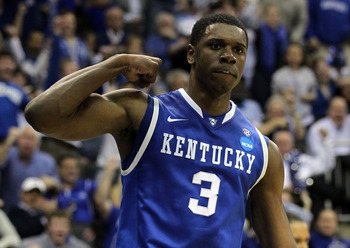 NEWARK, NJ - MARCH 27:  Terrence Jones #3 of the Kentucky Wildcats celebrates after a point against the North Carolina Tar Heels during the first half of the east regional final of the 2011 NCAA men's basketball tournament at Prudential Center on March 27