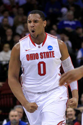 NEWARK, NJ - MARCH 25:  Jared Sullinger #0 of the Ohio State Buckeyes celebrates after a play against the Kentucky Wildcats during the first half of the east regional semifinal of the 2011 NCAA Men's Basketball Tournament at the Prudential Center on March