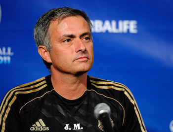 LOS ANGELES, CA - JULY 12:  Real Madrid coach Jose Mourinho speaks during a news conference to announce the Herbalife World Football Challange 2011 friendly soccer tournament between 13 European and US soccer clubs on July 12, 2011 in Los Angeles, Califor