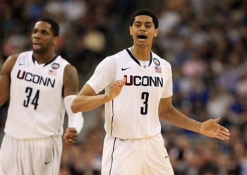 HOUSTON, TX - APRIL 04:  Jeremy Lamb #3 of the Connecticut Huskies reacts after a play against the Butler Bulldogs during the National Championship Game of the 2011 NCAA Division I Men's Basketball Tournament at Reliant Stadium on April 4, 2011 in Houston