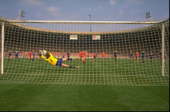 May 1988:  David Beasant of Wimbledon saves a penalty from John Aldridge of Liverpool during the FA Cup final at Wembley Stadium in London. Wimbledon won the match 1-0. \ Mandatory Credit: David  Cannon/Allsport