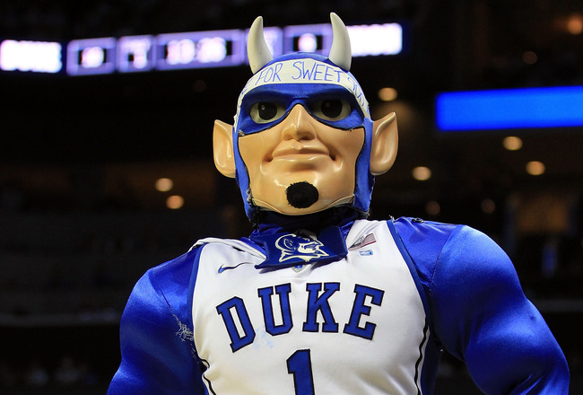 CHARLOTTE, NC - MARCH 20:  The Duke Blue Devils mascot performs while the Blue Devils take on the Michigan Wolverines during the third round of the 2011 NCAA men's basketball tournament at Time Warner Cable Arena on March 20, 2011 in Charlotte, North Caro