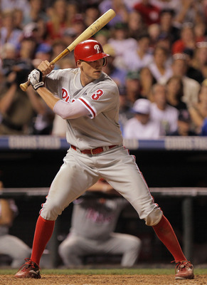 DENVER, CO - AUGUST 01:  Hunter Pence #3 of the Philadelphia Phillies takes an at bat against the Colorado Rockies at Coors Field on August 1, 2011 in Denver, Colorado.  (Photo by Doug Pensinger/Getty Images)