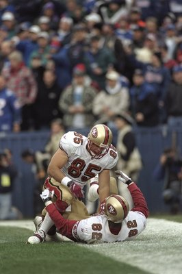 20 Dec 1998:  Tight ends Irv Smith #82 and Greg Clark #85 of the San Francisco 49ers celebrate a touchdown during the game against the New England Patriots at Foxboro Stadium in Foxboro, Massachusetts. The Patriots defeated the 49''ers 24-21. Mandatory Cr