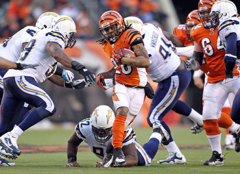 CINCINNATI - DECEMBER 26:  Bernard Scott #28 of the Cincinnati Bengals runs with the ball during the NFL game against the San Diego Chargers at Paul Brown Stadium on December 26, 2010 in Cincinnati, Ohio. The Bengals 34-20.  (Photo by Andy Lyons/Getty Ima