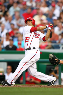WASHINGTON, DC - JULY 27: Jerry Hairston #15 of the Washington Nationals bats against the Florida Marlins at Nationals Park on July 27, 2011 in Washington, DC. The Marlins won 7-5. (Photo by Ned Dishman/Getty Images)