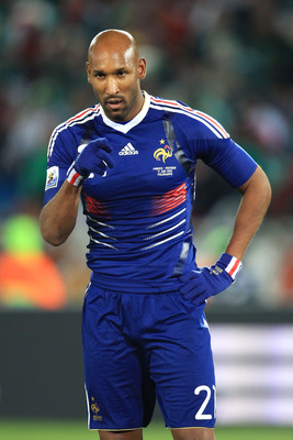 POLOKWANE, SOUTH AFRICA - JUNE 17:  Nicolas Anelka of France gestures during the 2010 FIFA World Cup South Africa Group A match between France and Mexico at the Peter Mokaba Stadium on June 17, 2010 in Polokwane, South Africa.  (Photo by David Cannon/Gett