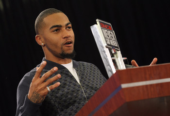 DALLAS, TX - FEBRUARY 02:  DeSean Jackson of the Philadelphia Eagles, speaks with the press at the Super Bowl XLV media center after accepting the '2010 GMC Never Say Never Moment of the Year' award on February 2, 2011 in Dallas, Texas.  (Photo by Ronald