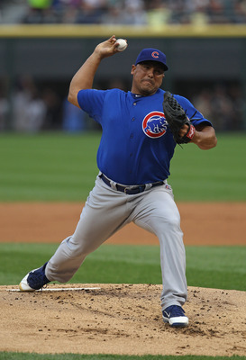 CHICAGO, IL - JUNE 20:  Starting pitcher Carlos Zambrano #38 of the Chicago Cubs delivers the ball against the Chicago White Sox at U.S. Cellular Field on June 20, 2011 in Chicago, Illinois. The Cubs defeated the White Sox 6-3.  (Photo by Jonathan Daniel/