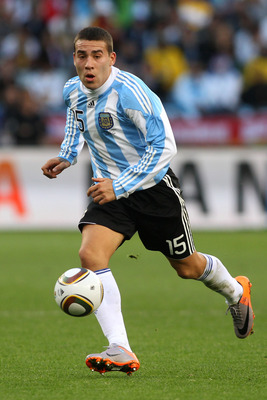 CAPE TOWN, SOUTH AFRICA - JULY 03:  Nicolas Otamendi of Argentina in action during the 2010 FIFA World Cup South Africa Quarter Final match between Argentina and Germany at Green Point Stadium on July 3, 2010 in Cape Town, South Africa.  (Photo by Joern P