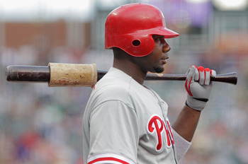 DENVER, CO - AUGUST 01:  Ryan Howard #6 of the Philadelphia Phillies waits on deck for his at bat in the first inning against the Colorado Rockies at Coors Field on August 1, 2011 in Denver, Colorado.  (Photo by Doug Pensinger/Getty Images)