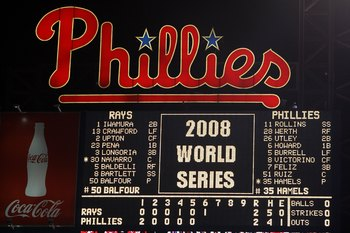 PHILADELPHIA - OCTOBER 29:  A shot of the scoreboard at the start of the bottom of the sixth inning between the Philadelphia Phillies and the Tampa Bay Rays during the continuation of game five of the 2008 MLB World Series on October 29, 2008 at Citizens