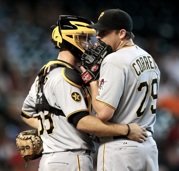 HOUSTON - JULY 17:  Pitcher Kevin Correia #29 and catcher Eric Fryer #69 of the PIttsburgh Pirates chat on the mound during a baseball game against the Houston Astros at Minute Maid Park on July 17, 2011 in Houston, Texas.  (Photo by Bob Levey/Getty Image