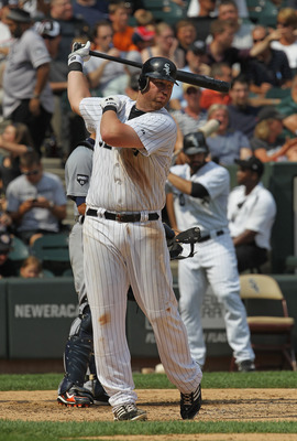 CHICAGO, IL - JULY 27: Adam Dunn #32 of the Chicago White Sox prepares to bat against the Detroit Tigers at U.S. Cellular Field on July 27, 2011 in Chicago, Illinois. The White Sox defeated the Tigers 2-1. (Photo by Jonathan Daniel/Getty Images)
