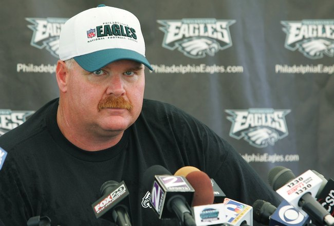 BETHLEHEM, PA - JULY 25:  Head coach Andy Reid of the Philadelphia Eagles talks to the media during training camp at Lehigh University on July 25, 2006 in Bethlehem, Pennsylvania.  (Photo by Jim McIsaac/Getty Images)