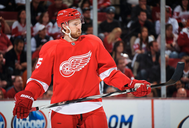DETROIT - MAY 4: Niklas Kronwall #55 of the Detroit Red Wings waits for a face off against the San Jose Sharks in Game Three of the Western Conference Semifinals during the 2011 NHL Stanley Cup Playoffs on May 4, 2011 at Joe Louis Arena in Detroit, Michig