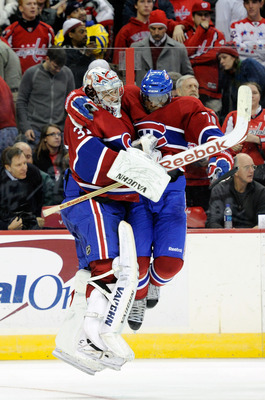 WASHINGTON, DC - FEBRUARY 01:  Carey Price #31 of the Montreal Canadiens celebrates with P.K. Subban #76 after a 3-2 shootout victory against the Washington Capitals at the Verizon Center on February 1, 2011 in Washington, DC.  (Photo by Greg Fiume/Getty