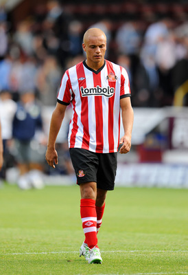 BURNLEY, UNITED KINGDOM - JULY 30: Wes Brown of Sunderland in action during the pre season friendly match between Burnley and Sunderland at Turf Moor on July 30, 2011 in Burnley, England. (Photo by Clint Hughes/Getty Images)