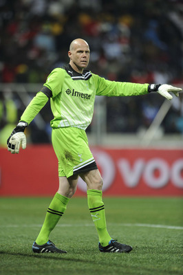 NELSPRUIT, SOUTH AFRICA - JULY 19:  Goalkeeper Brad Friedel of Tottenham Hotspur looks on during the 2011 Vodacom Challenge match between Orlando Pirates and Tottenham Hotspur from Mbombela Stadium on July 19, 2011 in Nelspruit, South Africa. (Photo by Le