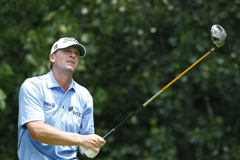 SILVIS, IL - JULY 10:  Steve Stricker hits his drive on the second hole during the final round of the John Deere Classic at TPC Deere Run on July 10, 2011 in Silvis, Illinois.  (Photo by Michael Cohen/Getty Images)