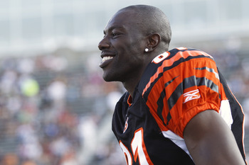 CANTON, OH - AUGUST 8: Terrell Owens #81 of the Cincinnati Bengals looks on before the game against the Dallas Cowboys during the 2010 Pro Football Hall of Fame Game at the Pro Football Hall of Fame Field at Fawcett Stadium on August 8, 2010 in Canton, Oh