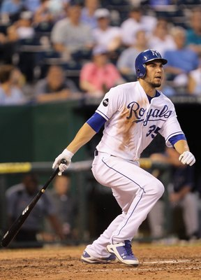 KANSAS CITY, MO - JULY 22:  Eric Hosmer #35 of the Kansas City Royals bats during the 5th inning of game against the Tampa Bay Rays on July 22, 2011 at Kauffman Stadium in Kansas City, Missouri.  (Photo by Jamie Squire/Getty Images)