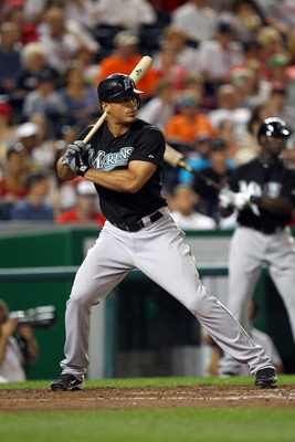 WASHINGTON, DC - JULY 27: Mike Stanton #27 of the Florida Marlins bats against the Washington Nationals at Nationals Park on July 27, 2011 in Washington, DC. The Marlins won 7-5. (Photo by Ned Dishman/Getty Images)