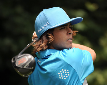 VANCOUVER, BC - JULY 22:  Rickie Fowler his a tee shot on the 13th hole during round two of the RBC Canadian Open at the Shaughnessy Golf & Country Club on July 22, 2011 in Vancouver, Canada.  (Photo by Harry How/Getty Images)