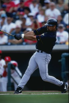 8 Mar 1999: Infielder Ken Caminiti #11 of the Houston Astros swings at the ball during the Spring Training game against the St. Louis Cardinals at the Roger Dean Stadium in Jupiter, Florida. The Astros defeated the Cardinals 2-1. Mandatory Credit: David L
