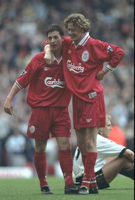 25 Oct 1997:  Robbie Fowler and Steve McManaman (right) of Liverpool celebrate a goal during the FA Carling Premiership match against Derby County at Pride Park in Derby, England. Liverpool won the match 0-4. \ Mandatory Credit: Gary M Prior/Allsport