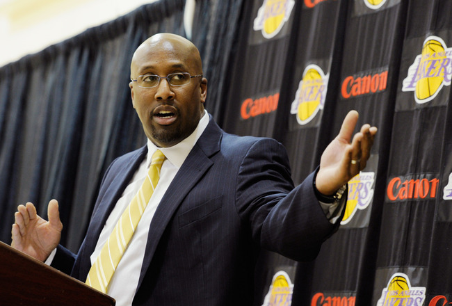 EL SEGUNDO, CA - MAY 31:  Mike Brown, the new head coach for the Los Angeles Lakers, speaks during his introductory news conference at the team's training facility on May 31, 2011 in El Segundo, California. Brown replaced Lakers coach Phil Jackson, who re